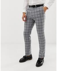 Pantalon de costume en laine à carreaux gris ASOS DESIGN