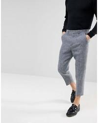 Pantalon de costume en laine à carreaux gris Asos
