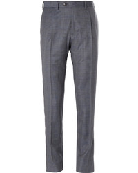 Pantalon de costume en laine à carreaux gris Brioni