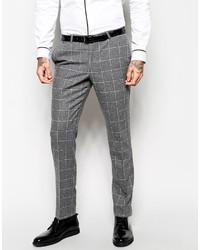 Pantalon de costume en laine à carreaux gris