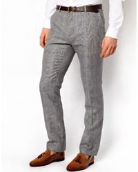 Pantalon de costume en laine à carreaux gris Peter Werth