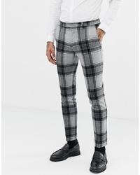 Pantalon de costume en laine à carreaux gris Twisted Tailor