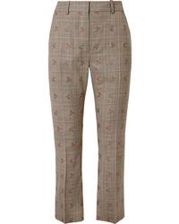 Pantalon de costume en laine à carreaux marron clair Altuzarra