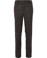 Pantalon de costume en laine à carreaux marron foncé
