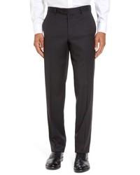 Pantalon de costume en laine à carreaux noir