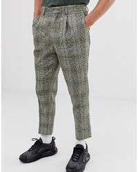 Pantalon de costume en laine à carreaux olive ASOS DESIGN