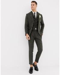 Pantalon de costume en laine à carreaux vert foncé ASOS DESIGN