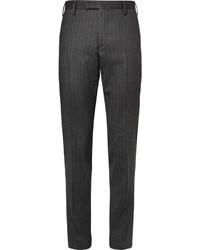 Pantalon de costume en laine à chevrons gris foncé Boglioli