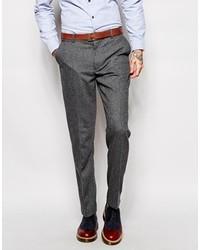 Pantalon de costume en laine à chevrons gris foncé Farah