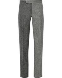 Pantalon de costume en laine à chevrons gris foncé Thom Browne