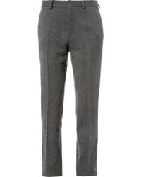 Pantalon de costume en laine à chevrons gris foncé Valentino
