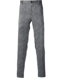 Pantalon de costume en laine à chevrons gris