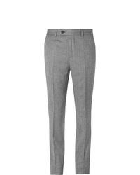 Pantalon de costume en laine à chevrons gris Brunello Cucinelli
