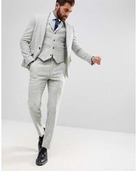 Pantalon de costume en laine à chevrons gris Asos