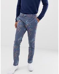 Pantalon de costume en laine à fleurs bleu ASOS DESIGN