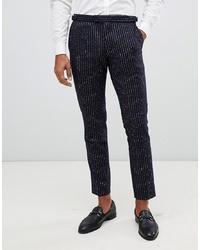 Pantalon de costume en laine à rayures verticales bleu marine MOSS BROS