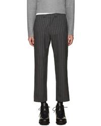 Pantalon de costume en laine à rayures verticales gris foncé