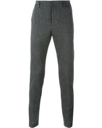 Pantalon de costume en laine à rayures verticales gris foncé Dondup