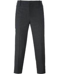 Pantalon de costume en laine à rayures verticales gris foncé Neil Barrett