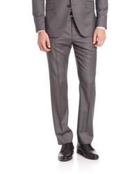 Pantalon de costume en laine à rayures verticales gris