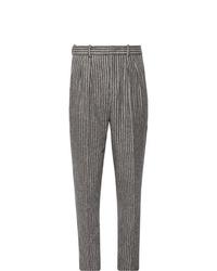 Pantalon de costume en laine à rayures verticales gris Isabel Marant