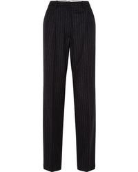 Pantalon de costume en laine à rayures verticales noir Hillier Bartley