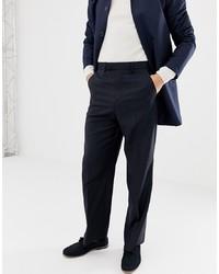 Pantalon de costume en laine bleu marine ASOS DESIGN