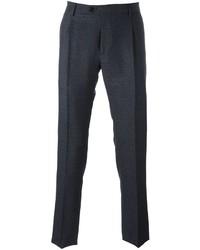 Pantalon de costume en laine bleu marine Etro