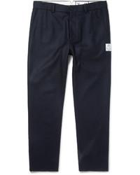 Pantalon de costume en laine bleu marine Moncler Gamme Bleu