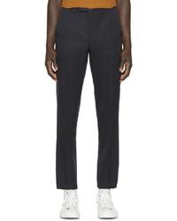 Pantalon de costume en laine bleu marine Raf Simons
