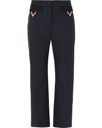 Pantalon de costume en laine bleu marine Valentino