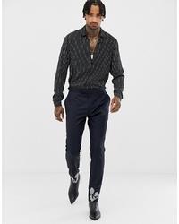 Pantalon de costume en laine brodé bleu marine ASOS Edition