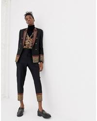 Pantalon de costume en laine brodé noir ASOS Edition