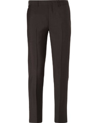 Pantalon de costume en laine brun foncé Prada