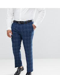 Pantalon de costume en laine écossais bleu marine ASOS DESIGN