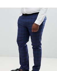 Pantalon de costume en laine écossais bleu marine Twisted Tailor