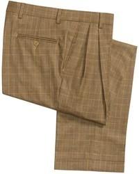 Pantalon de costume en laine écossais brun