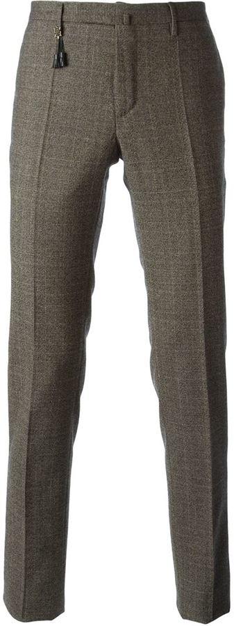 Pantalon de costume en laine écossais brun Incotex