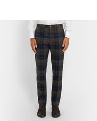 Pantalon de costume en laine écossais brun Etro