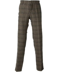 Pantalon de costume en laine écossais brun Stella Jean