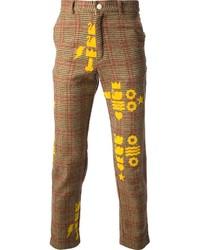 Pantalon de costume en laine écossais brun Walter