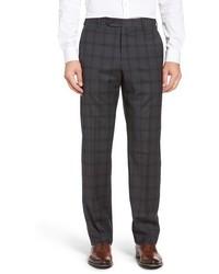 Pantalon de costume en laine écossais gris foncé