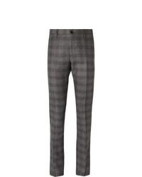 Pantalon de costume en laine écossais gris foncé Etro