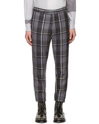 Pantalon de costume en laine écossais gris foncé Thom Browne