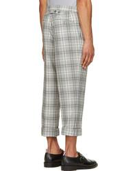 Pantalon de costume en laine écossais gris Thom Browne