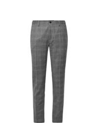 Pantalon de costume en laine écossais gris Incotex