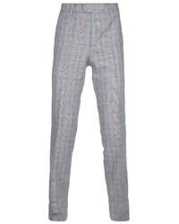 Pantalon de costume en laine écossais gris Paul & Joe