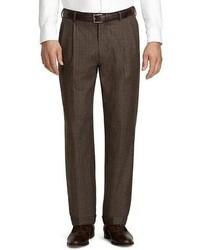 Pantalon de costume en laine écossais marron foncé