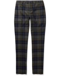 Pantalon de costume en laine écossais marron Etro