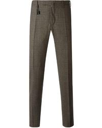 Pantalon de costume en laine écossais marron Incotex